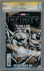 Infinity #1 Brooks Thanos Party Variant CGC 9.6 Signature Series Signed x4 Stan Lee Marvel comic